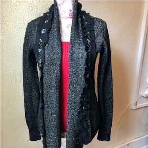 BKE Boutique Embellished Open Cardigan M Black